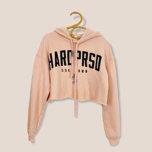 Hardpressed | Cropped Alumni Hoodie Blush Pink